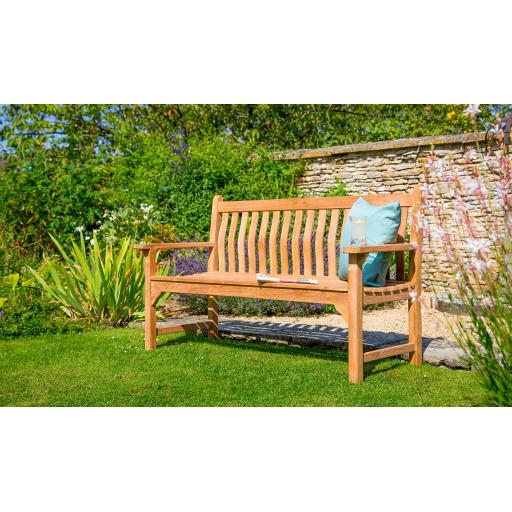 Curved Back Flat Arm Teak Bench