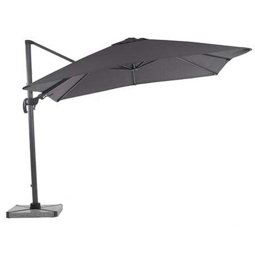 Truro 3m Square Side Post Parasol with LEDs Grey