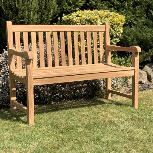 2 Seat Straight Back Bench Teak