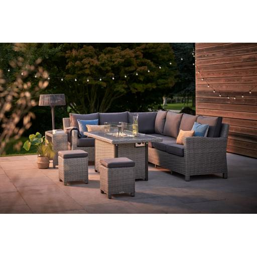 Palma Casual Dining Corner Set with Firepit Table