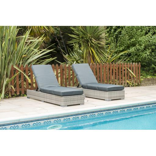 Chatsworth Double Sun Lounger Set with Drinks Table - Grey