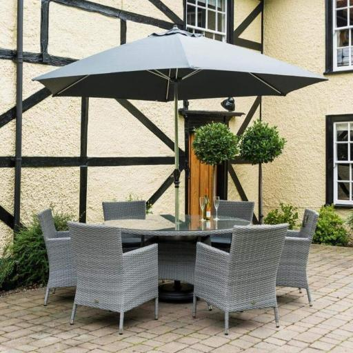 Chatsworth 6 Seat Round Dining Set - Grey