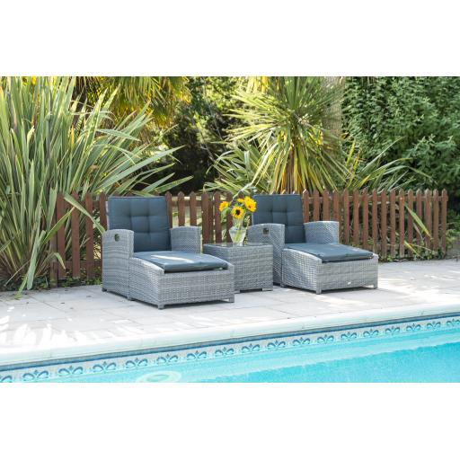 Chatsworth Luxury Reclining Lounger Set - Grey
