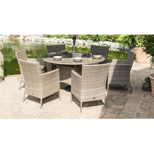 Chatsworth 6 Seat Round Dining Set - Natural