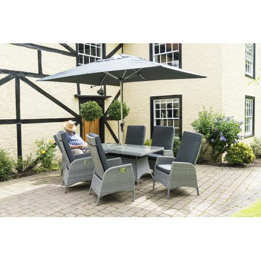 Chatsworth 6 Seat Reclining Rectangular Set - Grey